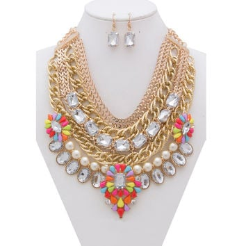 Skylar Multi-Chain and Stones Statement Necklace and Earrings Set