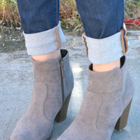 Walk The Line Booties - Gray