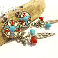 Native American Dangle Earring, Turquoise and Coral Medallion Earring, Southwestern Earring, Cool Feather Earring Made With Swarovski