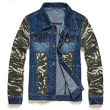Men's New Fashion Vintage Casual Camouflage Pattern Denim Jacket