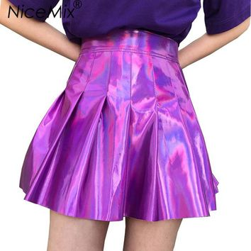 NiceMix 2018 Summer Harajuku Skirts Womens Sexy High Waist Pleated Skirt Female Casual Laser Reflective Club Skirt Femme