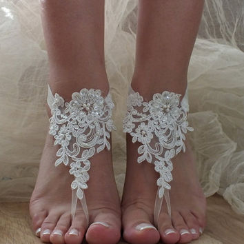 ivory Beach wedding barefoot sandals, lace barefoot lace sandals, lace shoes, bridal beach shoes FREE SHIP
