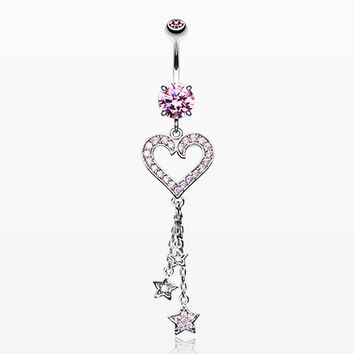 Heart Star Sparkles Belly Ring