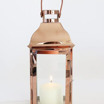 "Metal and Glass Candle Lantern in Copper with Handle - 12.25"" Tall"