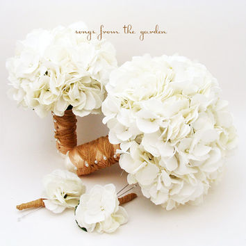 White Silk Hydrangea Bridal & Bridesmaid Bouquet  Groom's Best Man Boutonniere - Silk Flower Wedding Package - Choose Your Colors