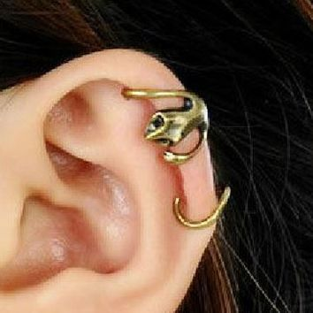 Hugging Squirrel Statement Wrapping Ear Cuffs (Pair,No Piercing) - LilyFair Jewelry