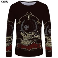 Skull Long sleeve T shirt Germany T shirts Military Clothes Punk Clothing Gothic Tops Tees  Tshirt Womens Printed Top