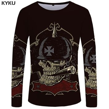 Skull Long sleeve T shirt Germany Tshirt Military Clothes Punk Tops Gothic Funny T shirts  Tees Men Fashion Top Tee