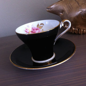 Antique Aynsley corset tea cup and saucer, black tea cup, floral bone china tea set, black and gold tea cup