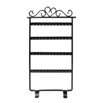 48 Hole Earrings Jewelry Display Rack Metal Stand Holder Showcase Black