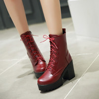 Lace Up Ankle Boots Women Shoes Fall|Winter 11191501