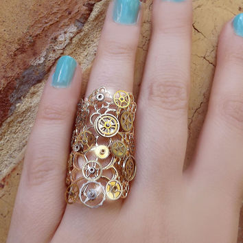 Steampunk ring, gold steampunk ring, filigree ring, flower ring, steampunk art, magic ring, watch gear ring, long ring, OOAK