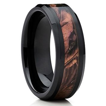 8mm - Black Ceramic Ring - Camo Ring - Ceramic Wedding Band - Men's Ring