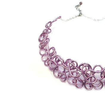 Lilac Wire Collar Necklace Purple Choker Statement Jewelry