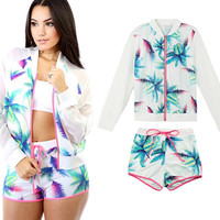 White Two Pieces Leaves Print Long Sleeves Zipper Top  Drawstring Waist Shorts