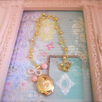 Princess Snow White Charm Locket Necklace