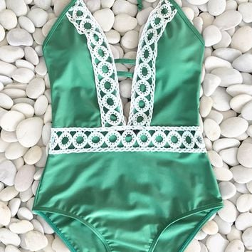 Cupshe Thick Forest Halter One-piece Swimsuit