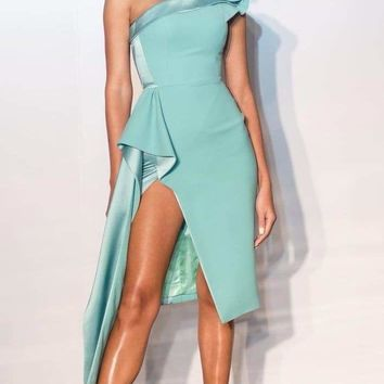 Ava Satin One Shoulder Dress