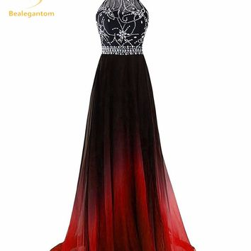 Bealegantom Halter Gradient Prom Dresses 2017 With Long Chiffon Plus Size Ombre Evening Party Gowns Vestido De Festa QA1231