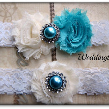 SALE Turquoise Blue Wedding, Vintage garter, toss garter, Bridal gift, Bridal accessories, Something blue, Ivory Garter, Garter Belt
