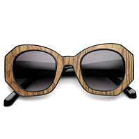 Trendy Womens Fashion Block Cut Hexagon Oversize Sunglasses 9158