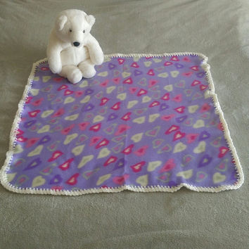 "Purple Heart Fleece with Cream White Crochet Edge Baby Girl Blanket 30"" X 31"""