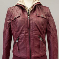 Bomber Jacket with Built in Liner - Wine