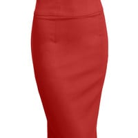 LE3NO Womens Fitted High Waisted Midi Skirt