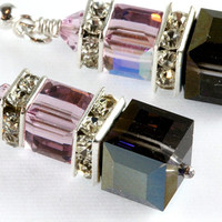 Heliotrope and Light Amethyst Crystal Earrings, Swarovski, Sterling Silver, Stacked Cubes