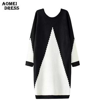 Women Sweater Dress White and Black Midi Winter Knitted Long Sleeve Casual Fashion Gowns Office Ladies Clothing