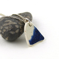 Blue and White Beach Pottery Necklace ARIANA