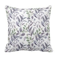 Dusty Purple Sage Green Leaves Greenery | Throw Pillow
