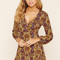 Ornate Print V-Neck Dress