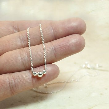 Sterling Silver Tiny Dot Necklace, Tiny Necklace, Minimalist Necklace, Beaded Necklace, Tiny Ball Necklace,