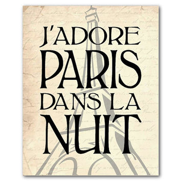 J'adore Paris Dans La Nuit - I love Paris at Night - Eiffel Tower - Paris, France - print - Wall Art - Vintage, Chalkboard - French Themed