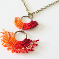 Textile ombre macrame necklace with beads orange red boho chic