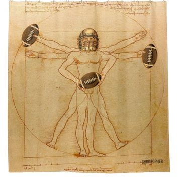 Leonardo Vitruvian Man As American Football Player Shower Curtain