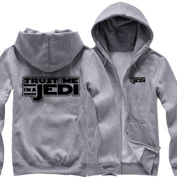Trust me I'm a Jedi Knight lightsaber Anakin Jedi Order Star Wars couple clothes woman cotton full zip hooded Jackets
