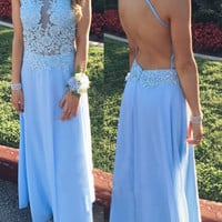 Open Back Halter Light Blue Applique Long Prom Dresses