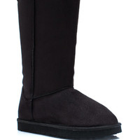 Plain-And-Tall-Faux-Shearling-Boots BLACK CAMEL - GoJane.com