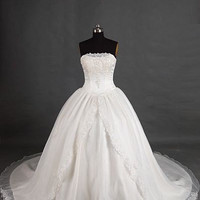 A-line Strapless Sleeveless Cathedral Train Satin Organza Wedding Dress With Applique Beading Free Shipping