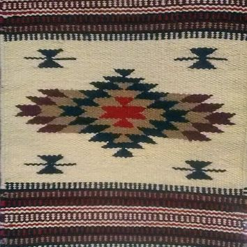 Aztec Table Rug # 5, Hand Loomed Wool 15' by 20""