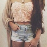 Beige Peach White Purple Strapless Rose Floral Lace Bustier Crop Tank Top
