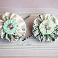 Yoyo Hair pin Mint Green Yoyo handmade from French fabric and ceramic button, cute hair accessory