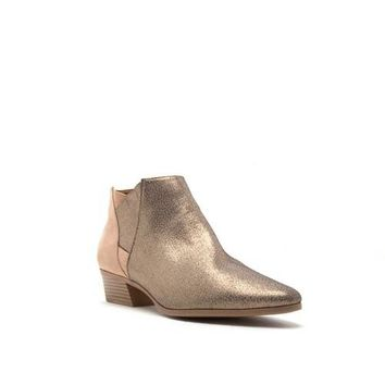 metallic snakeskin color block bootie