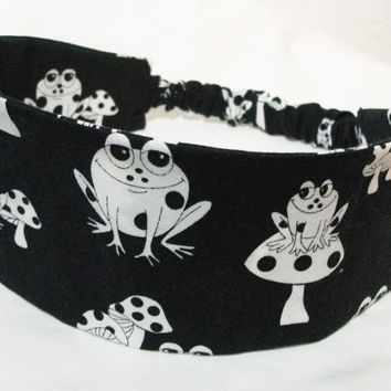 Wide Fabric Headband Black and White Toads and Toadstools Reversible Wrap Around Frogs Hair Wear Women Teens