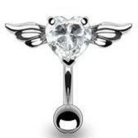 Body Accentz® Belly Button 316L 8mm Gem Navel with Angel Wings Heart Cz Dangle Body Jewelry Dangle 14g HO604