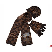 Louis Vuitton LV Stylish Women Men Plaid Pattern Warm Knit Hat Cap Scarf Gloves Set Three Piece 3# Coffee I-AJIN-BCYJSH