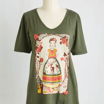 Quirky Mid-length Short Sleeves Frida Be You Tee by Blue Platypus from ModCloth
