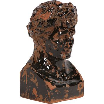 Rustic Ceramic Glazed Ancient Roman Male Bust
